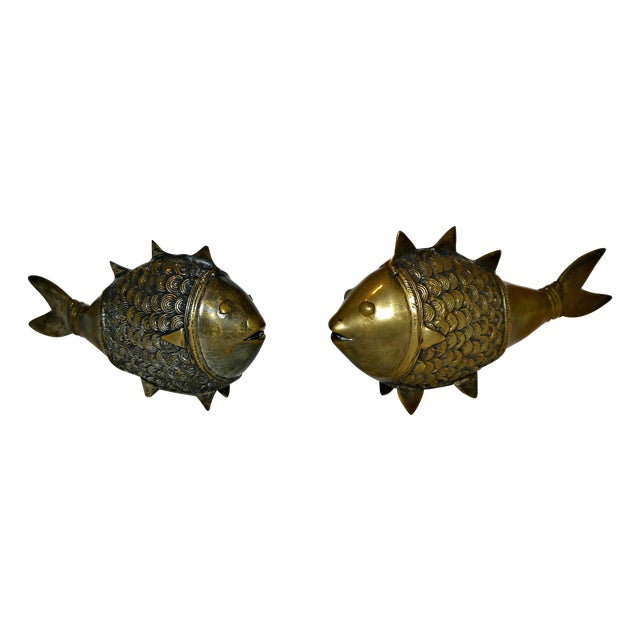 Brass Dokra Indian Fish - A Pair - Image 1 of 8
