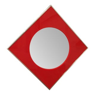 Carvers Guild Convex Mirror of Red Lucite and Chrome