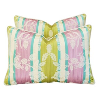 Pillows Made With Clarence House AnJou Silk Fabric - a Pair