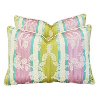 Clarence House Anjou Fabric Silk Pillows - Pair