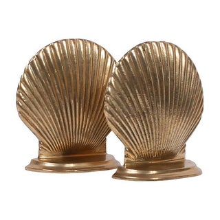 Brass Seashell Bookends - A Pair