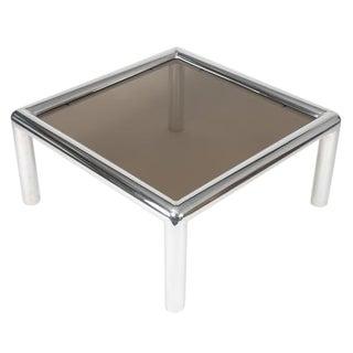 "JOHN MASCHERONI ALUMINUM AND SMOKED-GLASS ""TUBO"" COFFEE TABLE"