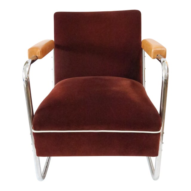 Vintage German Mohair Upholstered Chrome Chair - Image 1 of 6