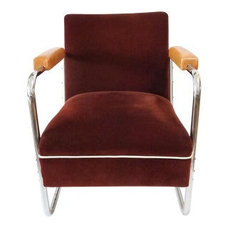 Vintage German Mohair Upholstered Chrome Chair