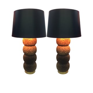 Mid-Century Molded Cork Lamps - A Pair