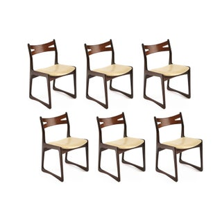 Sculpted Rosewood Dining Chairs - Set of 6