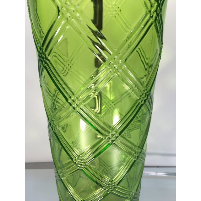 Green Glass Lamp With Bamboo Pattern - Image 4 of 6