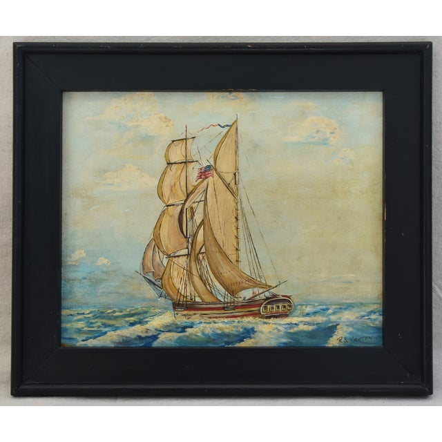 Framed 1940s Sailing Ship Oil Painting - Image 4 of 11