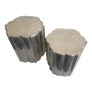 Hammered Metal Moroccan Moorish Shaped Tables - A Pair