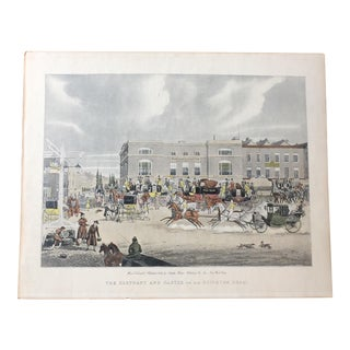 British Coaching Scene, Hand Colored Engraving