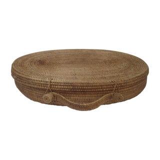 Large Oversized Vintage Oval Lidded Woven Storage Basket
