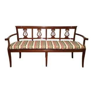 Paul Ferrante Italian Fruitwood Settee with Cane Seat