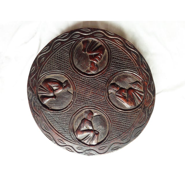 African Carved Wood Medallion - Image 2 of 4