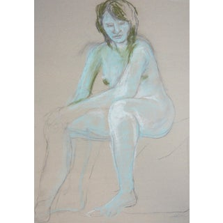 Contemporary Pastel Drawing - Woman in Blue