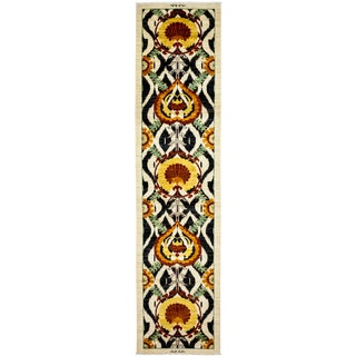 "Arts & Crafts Yellow Hand Knotted Runner - 3'1"" X 13'0"""