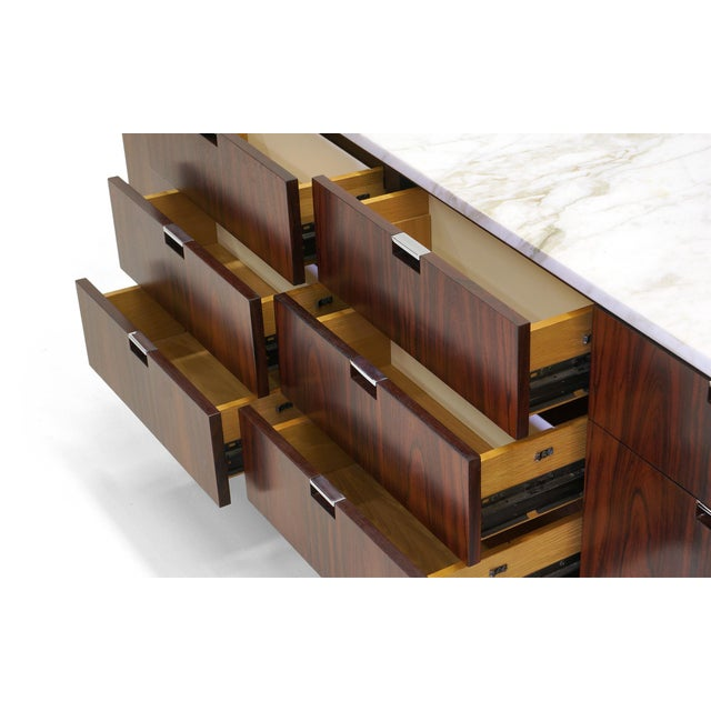 Exceptional Florence Knoll Marble-Top Rosewood Credenza - Image 3 of 9