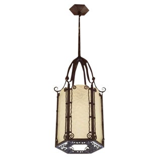 Art Deco Wrought Iron and Textured Glass Lantern in the Style of Piet Kramer, Netherlands circa 1925