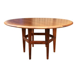 Vintage used brown dining tables chairish for Dining table design examples