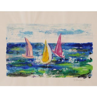 Vintage Sailboat Oil Painting