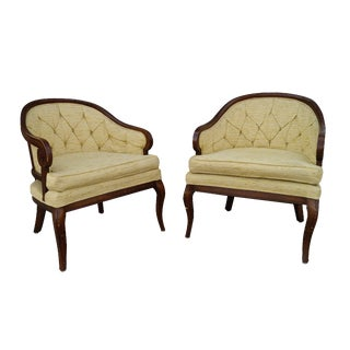 Vintage Yellow Tufted Armchairs - A Pair