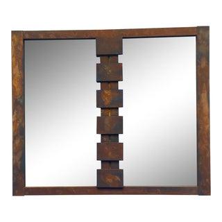 Lane Mid-Century Modern Mosaic Brutalist Mirror in Rust