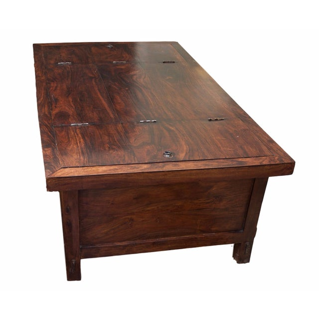 Rustic trunk style storage coffee table chairish - Trunk style coffee tables ...