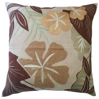 Tropical Embroidered Pillow Cover