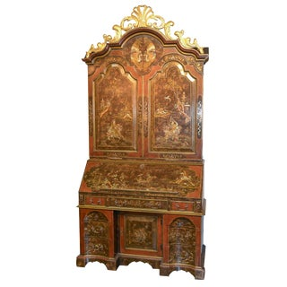 English Chinoiserie Tortoise Bureau Bookcase