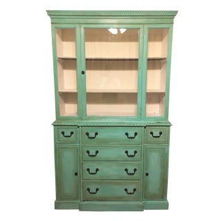 Vintage Green China Cabinet