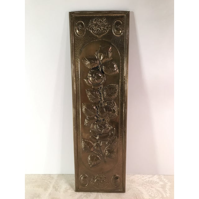 Mid-Century Modern Brass Embossed Panel with Floral Design - Image 2 of 3