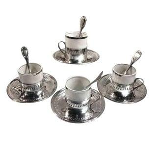 Vintage Porcelain & Metal Demitasse Cup & Saucer Set W Spoons Brazil
