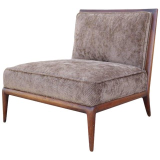 Brown Chenille Slipper Chair by Robsjohn-Gibbings