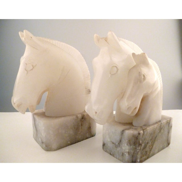 Alabaster Horse Bookends on Marble Bases - Pair - Image 6 of 11