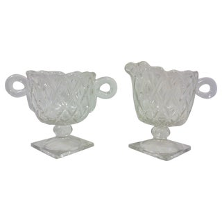Deco Glass Footed Creamer & Sugar Bowls - A Pair