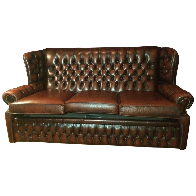 Oxblood Leather Chesterfield Sofa Bed Chairish