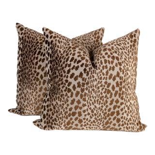 Chocolate Velvet Cheetah Pillows - A Pair
