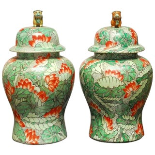 Lotus Blossom Temple Ginger Jars - A Pair