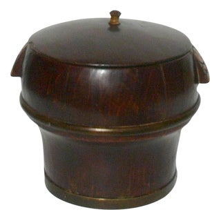 Chinese Wood Round Shape Brown Lacquer Lidded Storage Bucket