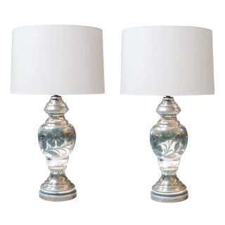 Good Quality Pair of French Mercury-Mirror Glass Lamps with Painted Floral Vines