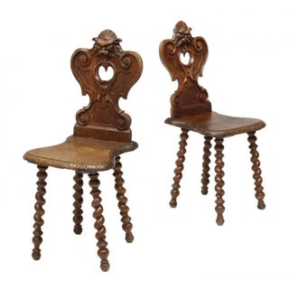 Antique European Carved Hall Chairs - A Pair