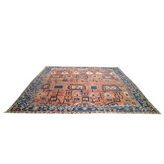 Antique Persian Heriz Hand Knotted Rug - 9′11″ × 10′10″ - Size Cat. 9x12 10x10