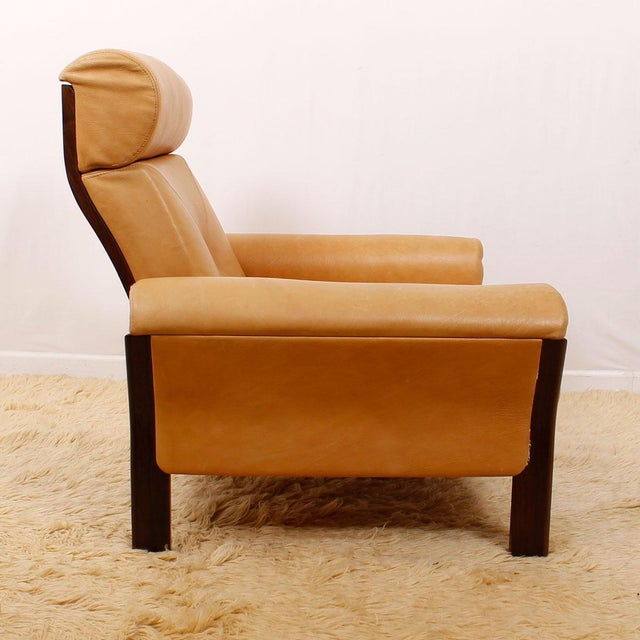 Image of Rosewood Leather Lounge Chair by Komfort, Denmark