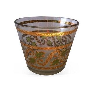 Mid-Century Gilt & Green Glass Ice Bucket