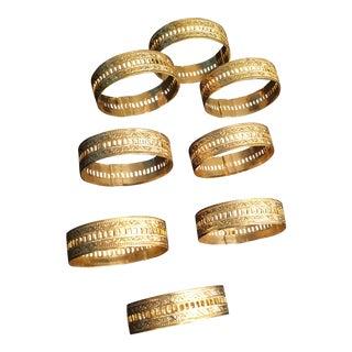 Vintage Gold Played Filigree Napkin Rings - Set of 8