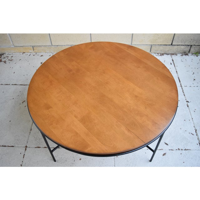 Paul McCobb Mid Century Modern Iron Base Round Coffee Table - Image 4 of 11