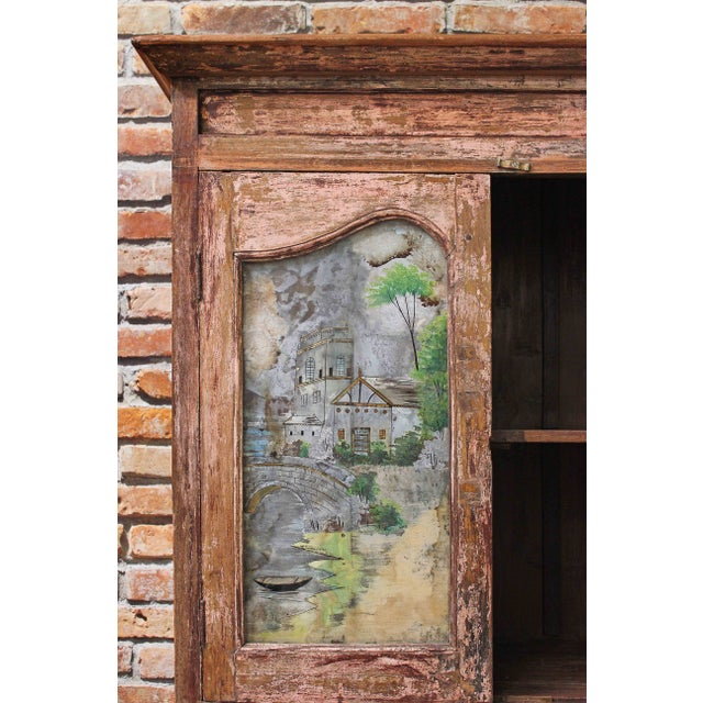 Vintage Pink Armoire with Handpainted Glass Panel - Image 5 of 6