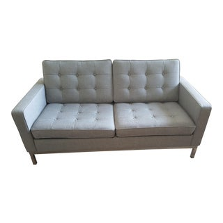Mid-Century Light Gray Loveseat