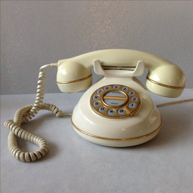 Vintage Cream and Gold Phone - Image 2 of 6