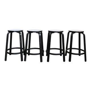 Alvar Aalto by Artek Black Stools - Set of 4
