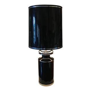 Vintage Hollywood Regency Black Ceramic Lamp